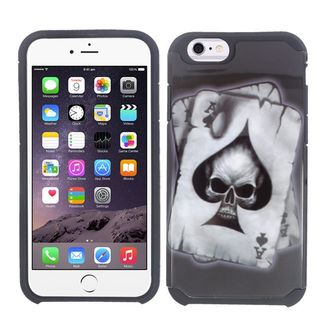 Insten Black/ White Spade Skull Hard PC/ Silicone Dual Layer Hybrid Rubberized Matte Case Cover For Apple iPhone 6/ 6s