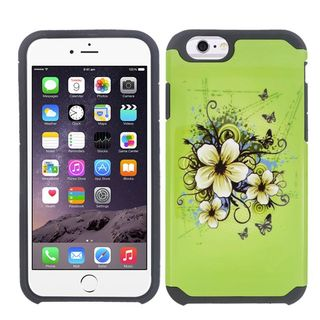 Insten Green/ White Hawaiian Flowers Hard PC/ Silicone Dual Layer Hybrid Rubberized Matte Case Cover For Apple iPhone 6/ 6s