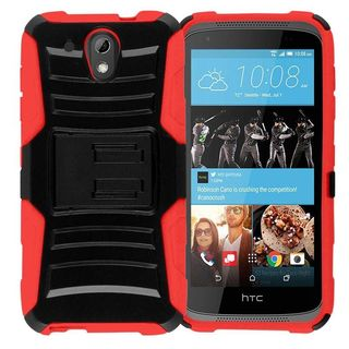 Insten hard PC Silicone Dual Layer Hybrid Case Cover with Holster For HTC Desire 520