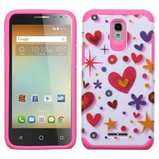 Insten Hot Pink/ White Heart Graffiti Hard PC/ Silicone Dual Layer Hybrid Case Cover For Alcatel One Touch Elevate