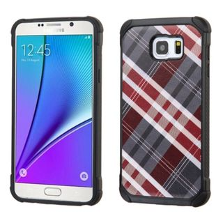 Insten Diagonal Plaid Hard PC/ Silicone Dual Layer Hybrid Rubberized Matte Case Cover For Samsung Galaxy Note 5