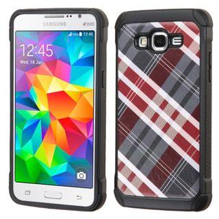 Insten Diagonal Plaid Hard PC/ Silicone Dual Layer Hybrid Rubberized Matte Case Cover For Samsung Galaxy Grand Prime