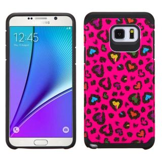 Insten Hot Pink/ Black Leopard Hard PC/ Silicone Dual Layer Hybrid Rubberized Matte Case Cover For Samsung Galaxy Note 5
