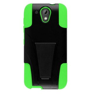 Insten Black/ Green Hard PC/ Silicone Dual Layer Hybrid Case Cover with Stand For HTC Desire 520