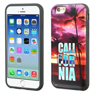 Insten Purple California Palm Trees Hard PC/ Silicone Dual Layer Hybrid Rubberized Matte Case Cover For Apple iPhone 6/ 6s
