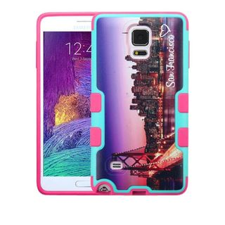 Insten Purple/ Pink San Francisco Skyline Hard Snap-on Rubberized Matte Case Cover For Samsung Galaxy Note 4
