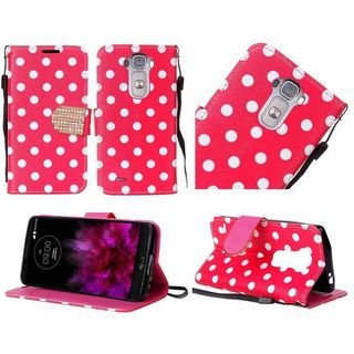 Insten Red/White Polka Dots Leather Case Cover Lanyard with Stand/Diamond For LG G Flex 2