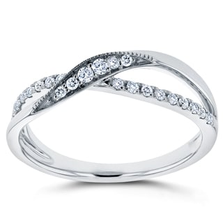 Annello by Kobelli 10k White Gold 1/6ct TDW Diamond Fashion Ring (H-I, I2)
