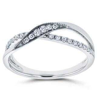 Annello by Kobelli 10k White Gold 1/6ct TDW Diamond Fashion Ring