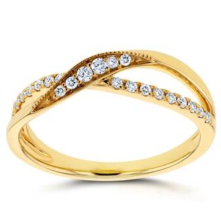 Annello by Kobelli 10k Yellow Gold 1/6ct TDW Diamond Fashion Ring (Option: 10.5)