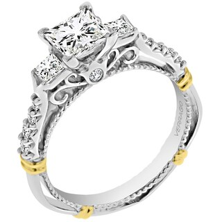 Verragio 14k Two-tone Cubic Zirconia and 2/5ct TDW 3-stone Semi Mount Engagement Ring
