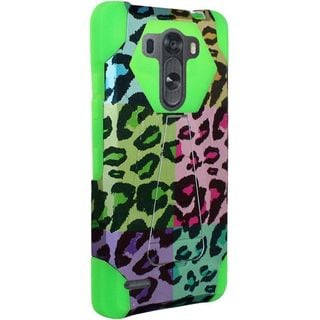 Insten Colorful/Green Leopard Hard PC/ Silicone Dual Layer Hybrid Case Cover with Stand For LG G3