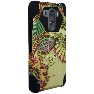 Insten Yellow/Black Antique Flower Hard PC/ Silicone Dual Layer Hybrid Case Cover with Stand For LG G3