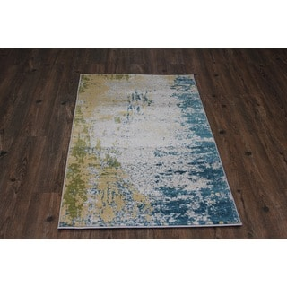 Silver/ Yellow/ Blue Indoor Area Rug (2'8 x 4'7)