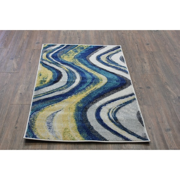 Shop Silver Yellow Turquoise Indoor Area Rug 2 8 X 4 7