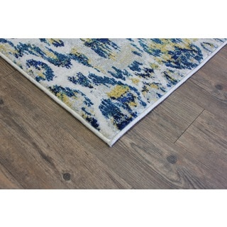 Silver/ Yellow/ Turquoise Indoor Area Rug (2'8 x 4'7)
