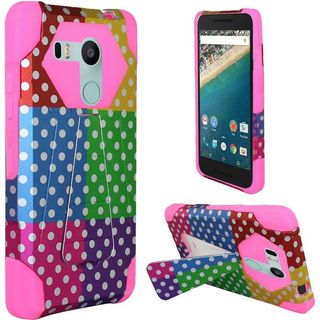 Insten Colorful/Hot Pink Polka Dots Hard PC/ Silicone Dual Layer Hybrid Case Cover with Stand For LG Google Nexus 5X