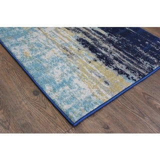 Silver/ Blue/ Yellow Indoor Area Rug (2'8 x 4'7)