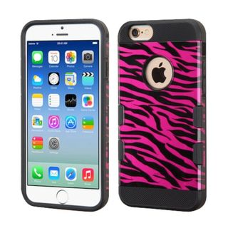 Insten Hot Pink/ Black Zebra Hard Snap-on Case Cover For Apple iPhone 6/ 6s
