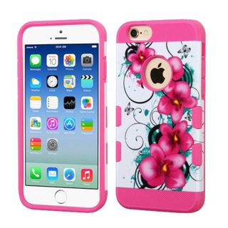 Insten Hot Pink/ White Morning Petunias Hard Snap-on Case Cover For Apple iPhone 6/ 6s