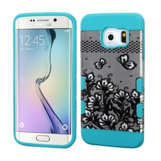 Insten Black/ Blue Lace Flowers Hard Snap-on Case Cover For Samsung Galaxy S6 Edge