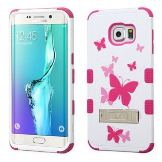 Insten Hot Pink/ White Butterfly Dancing Tuff Hard PC/ Silicone Dual Layer Hybrid Case Cover For Samsung Galaxy S6 Edge Plus