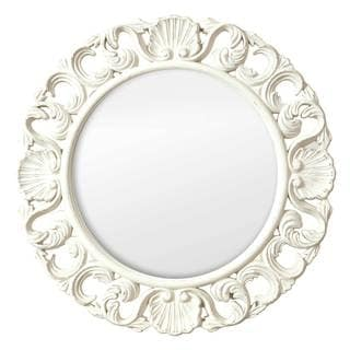 Selections by Chaumont Casa Vintage White MDF Ornate Circular Mirror