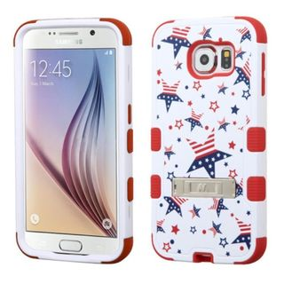 Insten Red/ White Patriotic Stars Tuff Hard PC/ Silicone Dual Layer Hybrid Case Cover with Stand For Samsung Galaxy S6