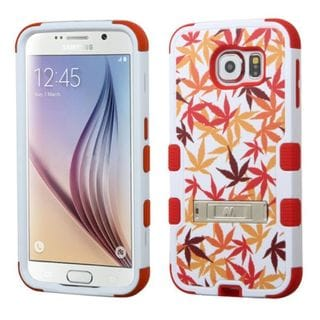 Insten Japanese Maple Leaves Tuff Hard PC/ Silicone Dual Layer Hybrid Case Cover with Stand For Samsung Galaxy S6