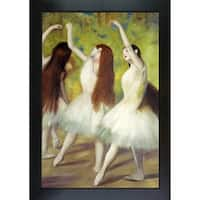 Edgar Degas 'Dancers in Green' Hand Painted Framed Canvas Art