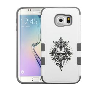Insten White/ Black Furious Skull Tuff Merge Hard Snap-on Rubberized Matte Case Cover For Samsung Galaxy S6 Edge