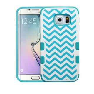 Insten Blue/ White Wave Tuff Merge Hard Snap-on Rubberized Matte Case Cover For Samsung Galaxy S6 Edge