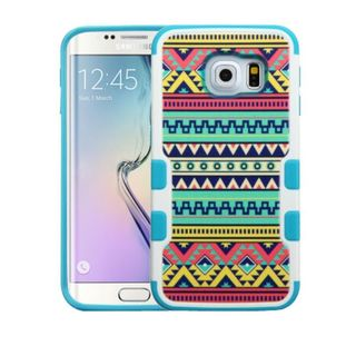 Insten Green/ Blue Tribal Sun Tuff Merge Hard Snap-on Rubberized Matte Case Cover For Samsung Galaxy S6 Edge