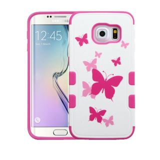 Insten Hot Pink/ White Butterfly Dancing Tuff Merge Hard Snap-on Rubberized Matte Case Cover For Samsung Galaxy S6 Edge