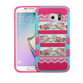 Insten Hot Pink Damask Flower Hard Snap-on Rubberized Matte Case Cover For Samsung Galaxy S6 Edge