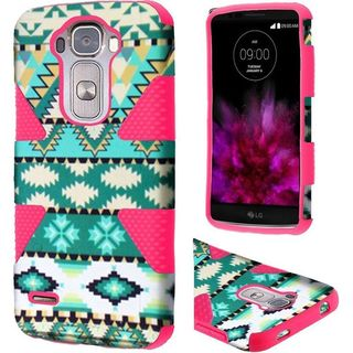 Insten Green/Hot Pink Aztec Dynamic Hard PC/ Silicone Dual Layer Hybrid Rubberized Matte Case Cover For LG G Flex 2