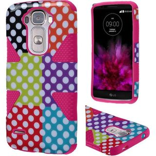 Insten Colorful/Hot Pink Polka Dots Dynamic Hard PC/ Silicone Dual Layer Hybrid Rubberized Matte Case Cover For LG G Flex 2