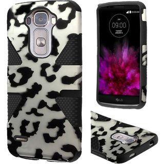 Insten Black/White Leopard Dynamic Hard PC/ Silicone Dual Layer Hybrid Rubberized Matte Case Cover For LG G Flex 2