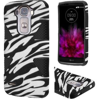 Insten Black/White Zebra Dynamic Hard PC/ Silicone Dual Layer Hybrid Rubberized Matte Case Cover For LG G Flex 2