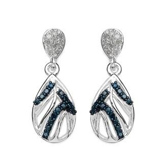 Olivia Leone 0.49 Carat Genuine Blue Diamond and White Diamond .925 Sterling Silver Earrings