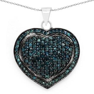 Olivia Leone 1.19 Carat Genuine Blue Diamond .925 Sterling Silver Heart Shape Pendant