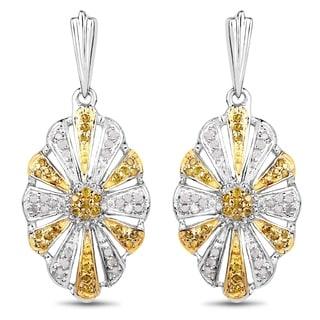 Olivia Leone 0.60 Carat Genuine White Diamond and Yellow Diamond .925 Sterling Silver Earrings