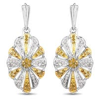 Olivia Leone 0.60 Carat Genuine White Diamond and Yellow Diamond .925 Sterling Silver Earrings
