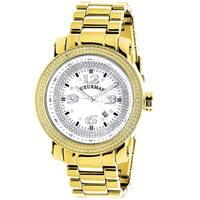Luxurman Mens Yellow Gold Plated 0.12ct TDW Diamond Watch
