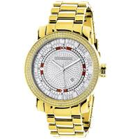 LUXURMAN PHANTOM YELLOW GOLD PLATED MENS DIAMOND WATCH EXTRA LARGE 0.12CT