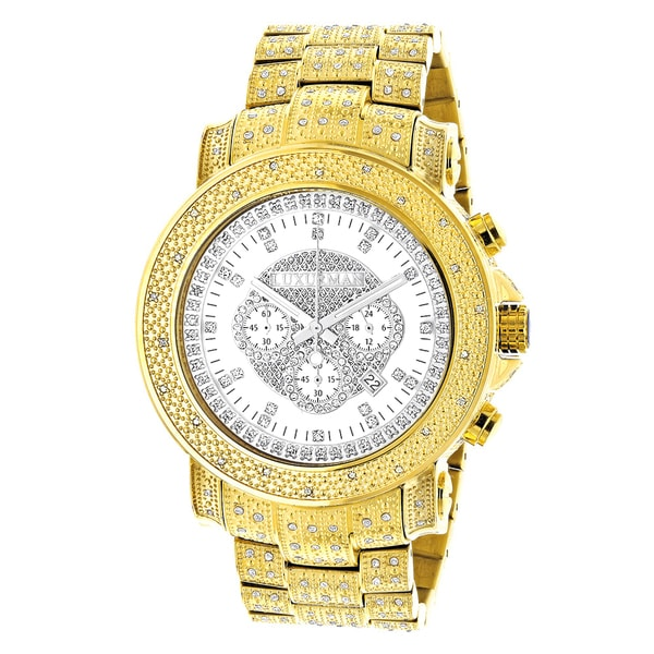 d7ee3d57027 Luxurman Mens Iced Out Yellow Gold Plated 2ct TDW Diamond Chronograph Watch