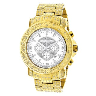 Luxurman Mens Iced Out Yellow Gold Plated 2ct TDW Diamond Chronograph Watch