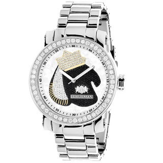 Luxurman Mens Southpaw Edition 4 .ct TDW Diamond Boxing Gloves Watch