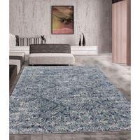 Grey/ Turquoise Indoor Area Rug (5'3 x 7'5) - 5'3 x 7'5
