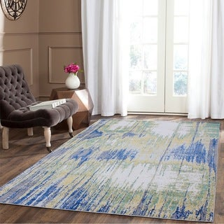 Grey/ Yellow/ Turquoise Indoor Area Rug - 5'3 x 7'5